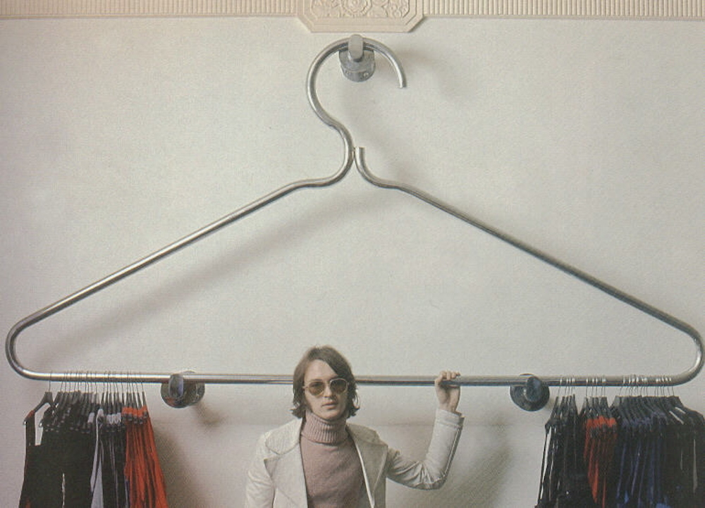 Jon Wealleans and his coathanger for coathangers, 1970 Mr Freedom