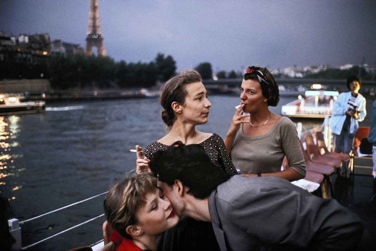 FRANCE. Paris. 1988. French Teenagers on a boat in the Seine river.