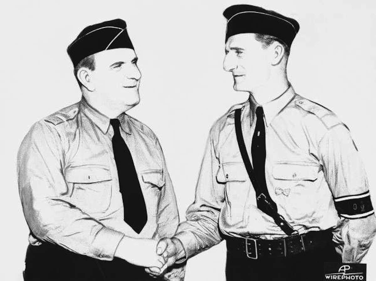 August Klapprott, right, head of the German-American bund camp near Andover, New Jersey, is shown greeting Fritz Kuhn, national head of the bund on Sept. 10, 1937.