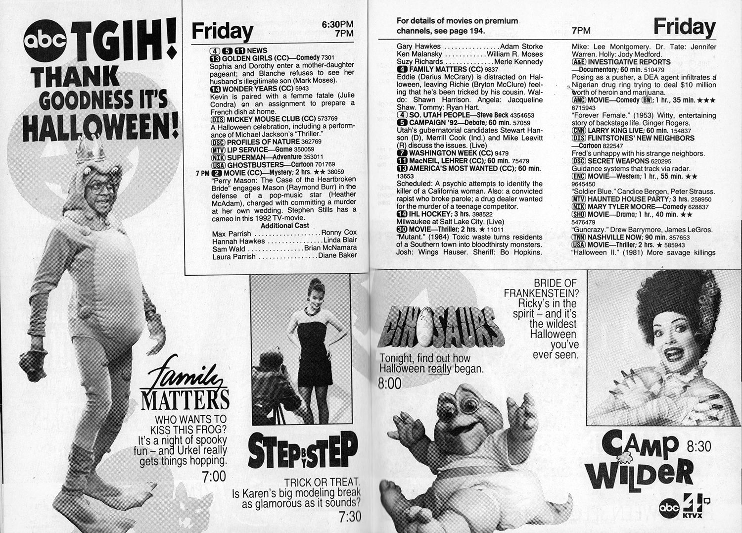 Halloween TV Lineups from Yesteryear - Flashbak