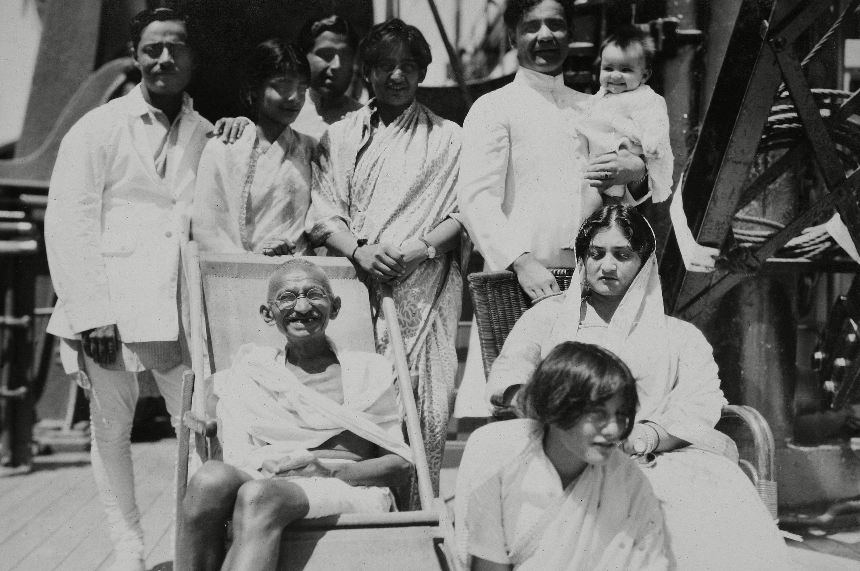Mahatma Gandhi aboard the S.S. Rajputana en route to the Second Round Table Conference on Dominion Status for India (September - December 1931) London