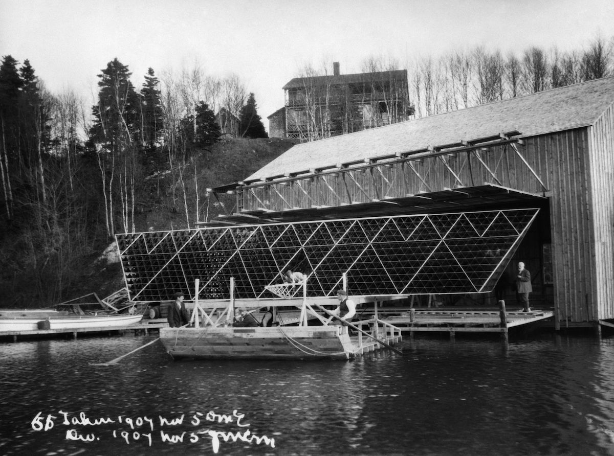Alexander Graham Bell With His Tetrahedral Kite 'Cygnet I' At A Kite Hangar On His Estate Beinn Bhreagh, Cape Breton Island, Nova Scotia. Photograph, 5 November 1907. Bell: Cygnet I, 1907.
