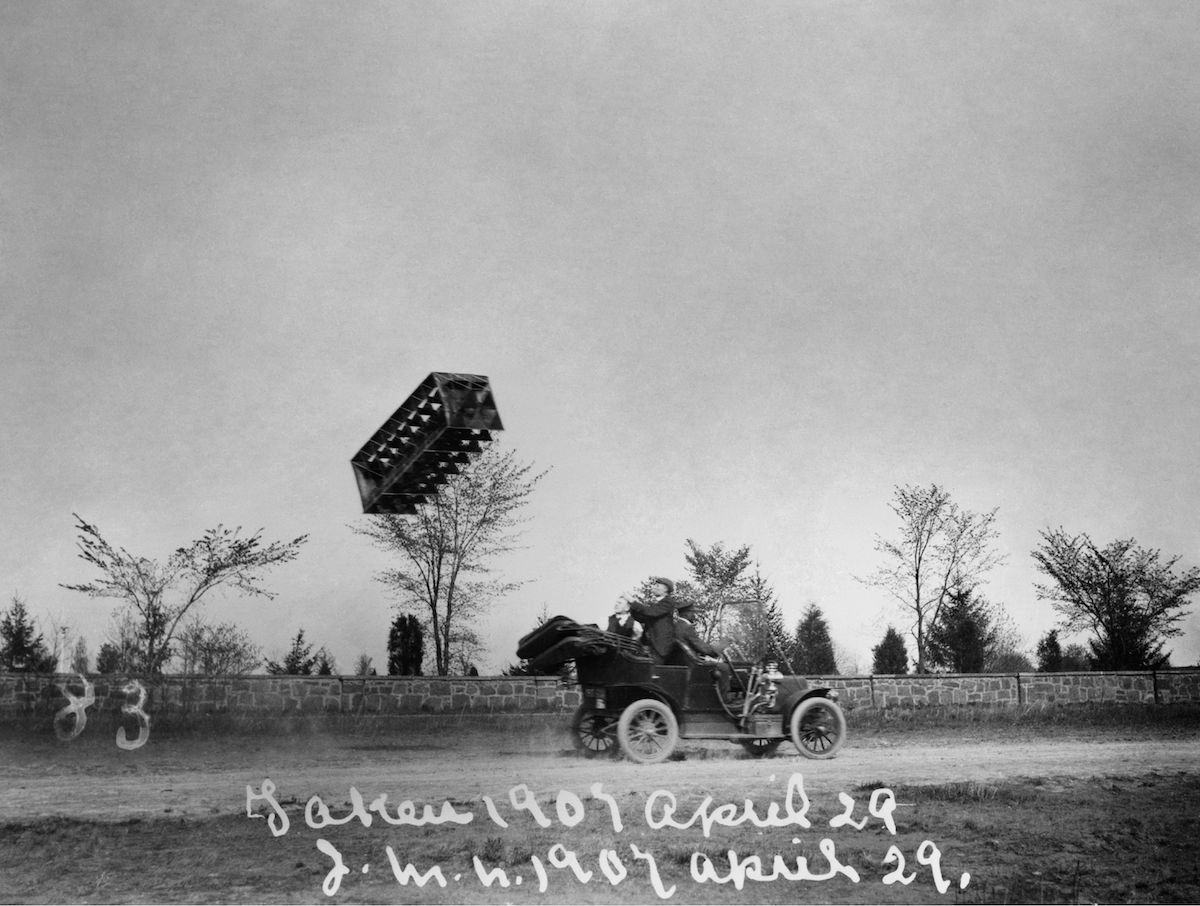 Tetrahedral Kite, 1907. A Tetrahedral Kite Designed By Alexander Graham Bell Being Flown From The Back Of An Automobile. Photograph, 29 April 1907. Tetrahedral Kite, 1907.