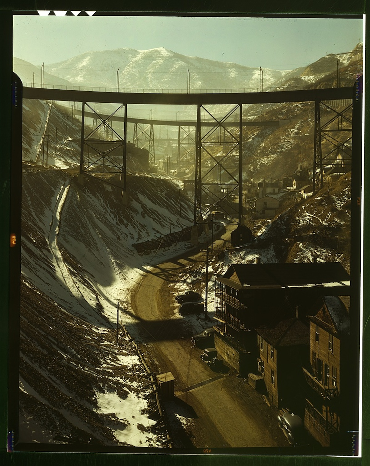 "Carr Fork Canyon as seen from ""G"" bridge, Bingham Copper Mine, Utah 1 transparency : color. Contributor: Feininger, Andreas Date: 1939"