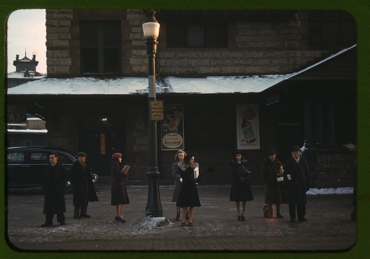 Commuters, who have just come off the train, waiting for the bus to go home, Lowell, Mass. 1 slide : color. Contributor: Delano, Jack Date: 1939