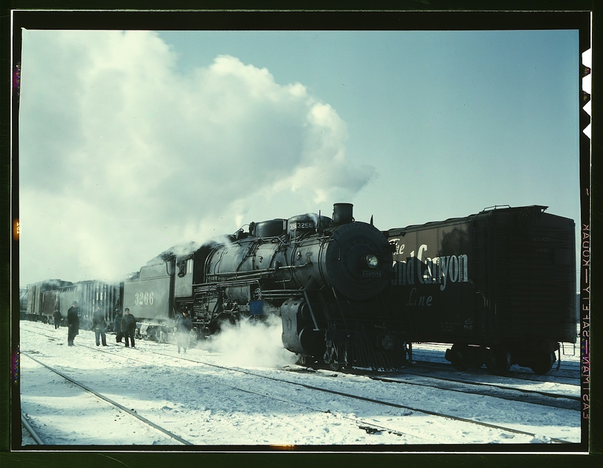 Santa Fe R.R. freight train about to leave for the West Coast from Corwith yard, Chicago, Ill. 1 transparency : color. Contributor: Delano, Jack Date: 1939