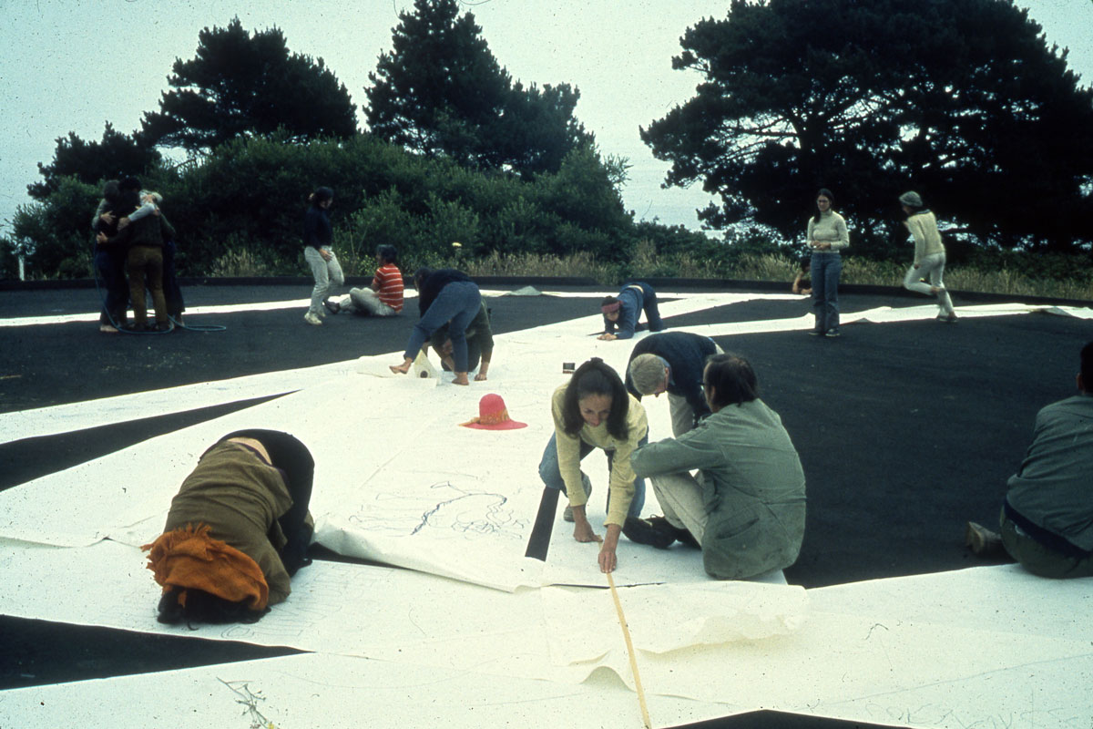 "Ritual Group Drawing,"" Sea Ranch, CA. Experiments in Environment Workshop, July 8, 1968. Courtesy Lawrence Halprin Collection, The Architectural Archives, University of Pennsylvania."