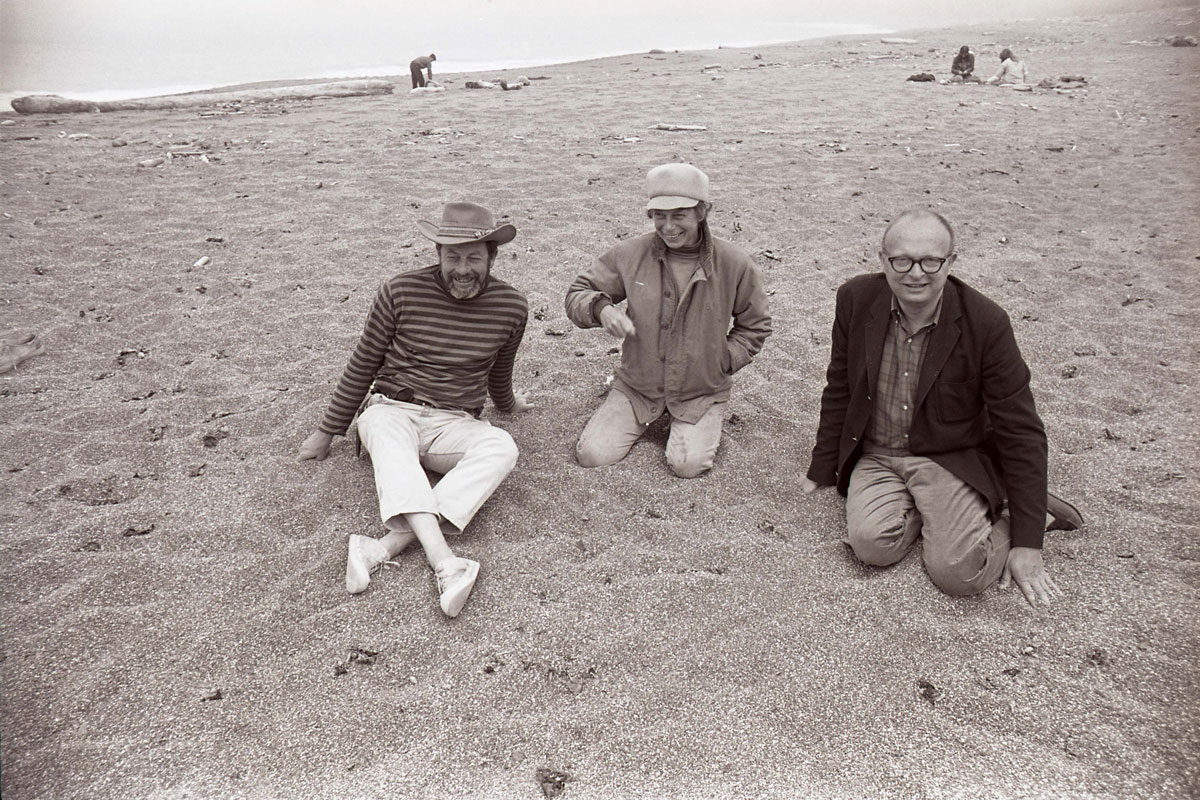 "Top: ""Blindfold Walk,"" Kentfield, CA. Experiments in Environment Workshop, July 2, 1968. Above, left to right: Lawrence Halprin, Anna Halprin, and architect Charles Moore, July 4, 1966, at Sea Ranch, CA. (Both images courtesy Lawrence Halprin Collection, The Architectural Archives, University of Pennsylvania)"