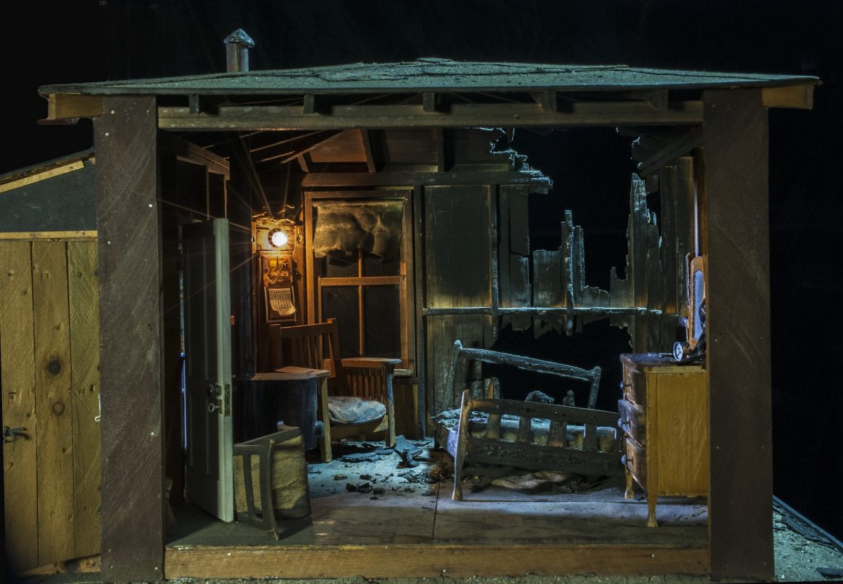Frances Glessner Lee, Burned Cabin (detail), about 1944-48. Collection of the Harvard Medical School, Harvard University, Cambridge, MA, courtesy of the Office of the Chief Medical Examiner, Baltimore, MD
