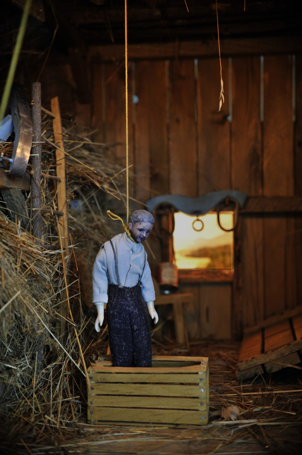 "Frances Glessner Lee, Barn, also known as ""The Case of the Hanging Farmer"" (detail), about 1943-44. Collection of the Harvard Medical School, Harvard University, Cambridge, MA, courtesy of the Office of the Chief Medical Examiner, Baltimore, MD. Photograph by Susan Marks, Courtesy of Murder in a Nutshell documentary"