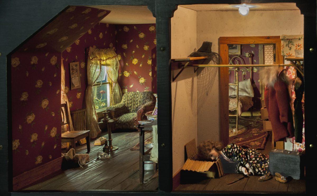 Frances Glessner Lee, Red Bedroom, about 1944-48. Collection of the Harvard Medical School, Harvard University, Cambridge, MA, courtesy of the Office of the Chief Medical Examiner, Baltimore, MD