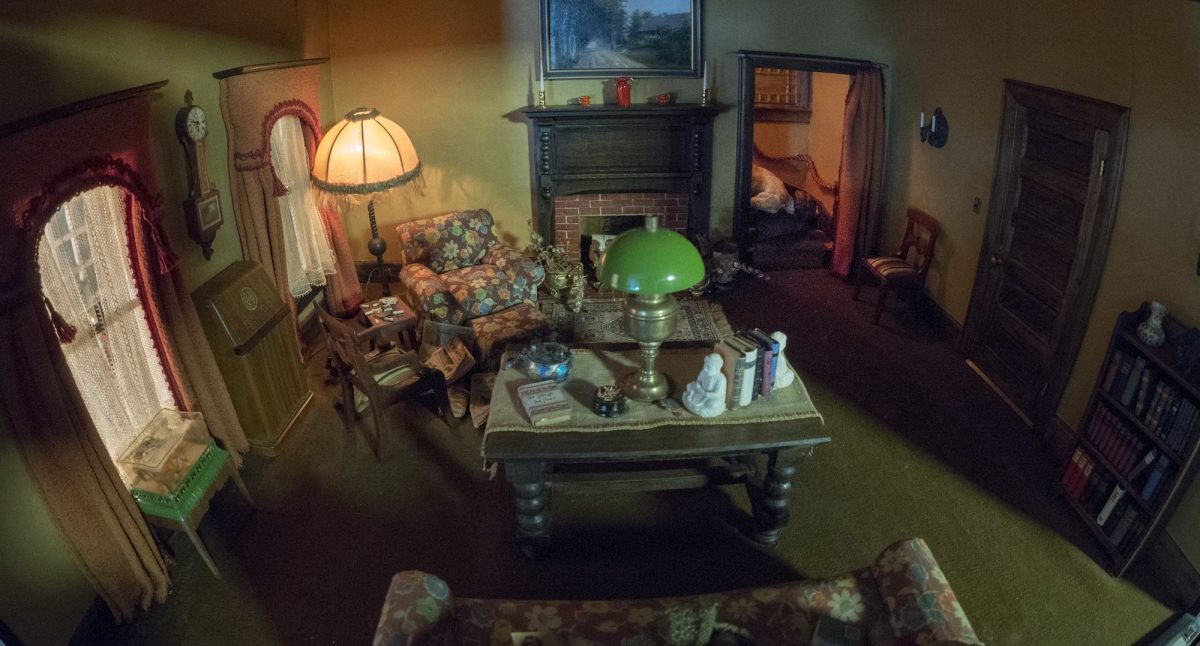 Frances Glessner Lee, Living Room (detail), about 1943-48. Collection of the Harvard Medical School, Harvard University, Cambridge, MA, courtesy of the Office of the Chief Medical Examiner, Baltimore, MD