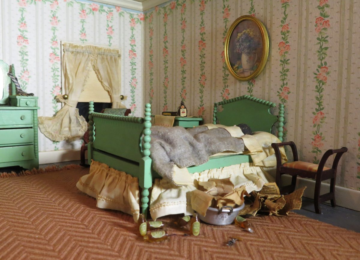 Frances Glessner Lee, Striped Bedroom (detail), about 1943-48. Collection of the Harvard Medical School, Harvard University, Cambridge, MA, courtesy of the Office of the Chief Medical Examiner, Baltimore, MD