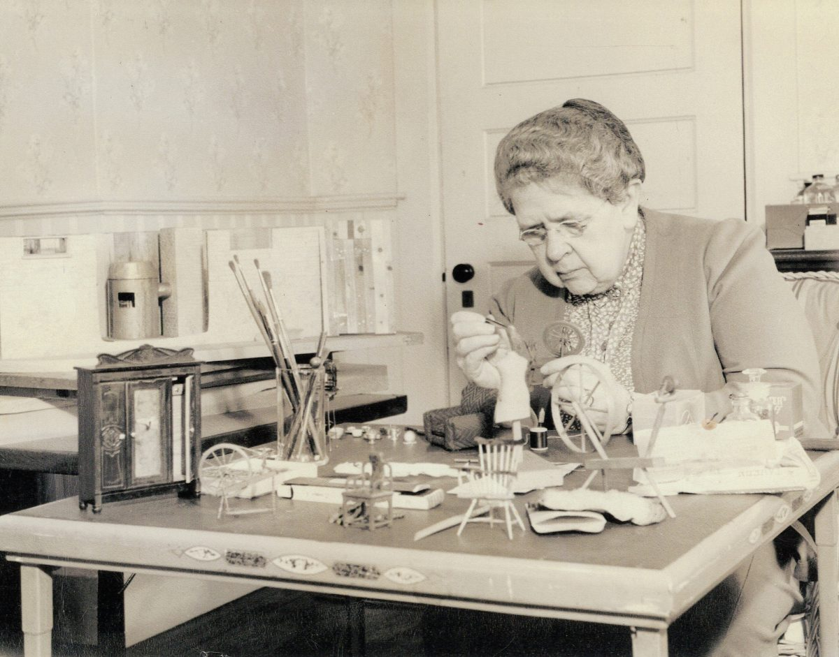 Frances Glessner Lee at work on the Nutshells in the early 1940s. Image courtesy Glessner House Museum, Chicago, IL