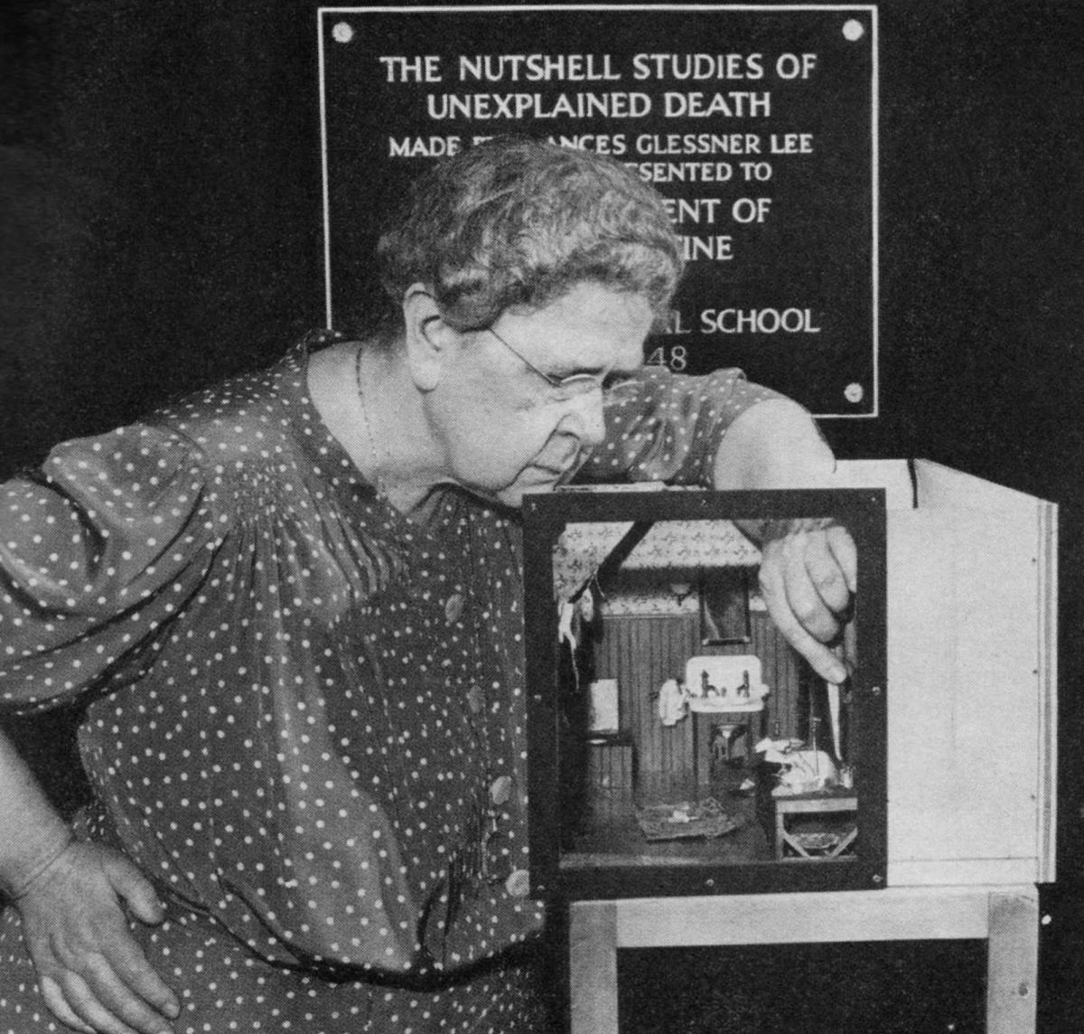 Frances Glessner Lee with her Nutshell diorama, Dark Bathroom. Image courtesy Glessner House Museum, Chicago, IL