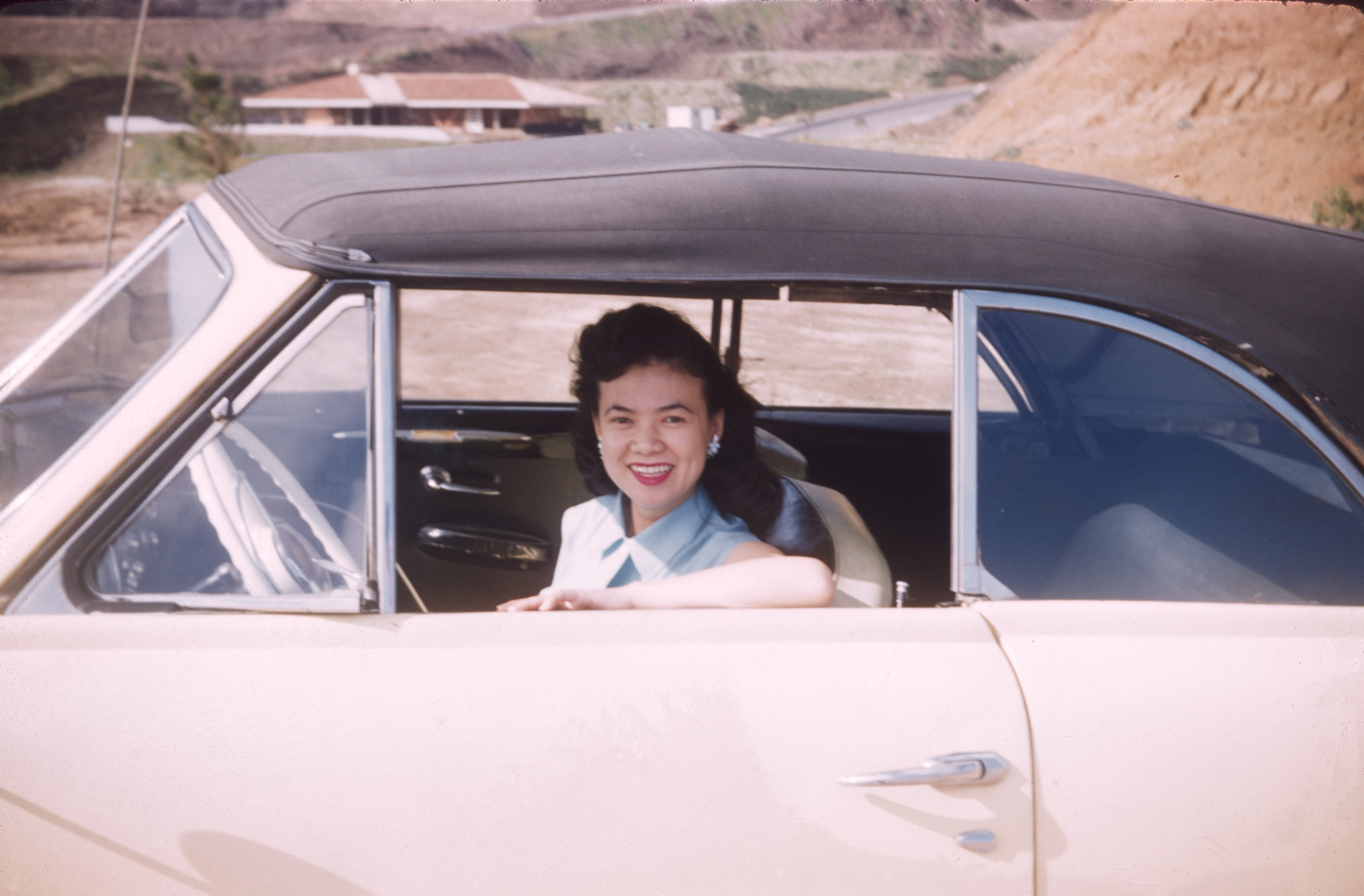 Kazuko in her '49 Ford convertible, Jan 1957
