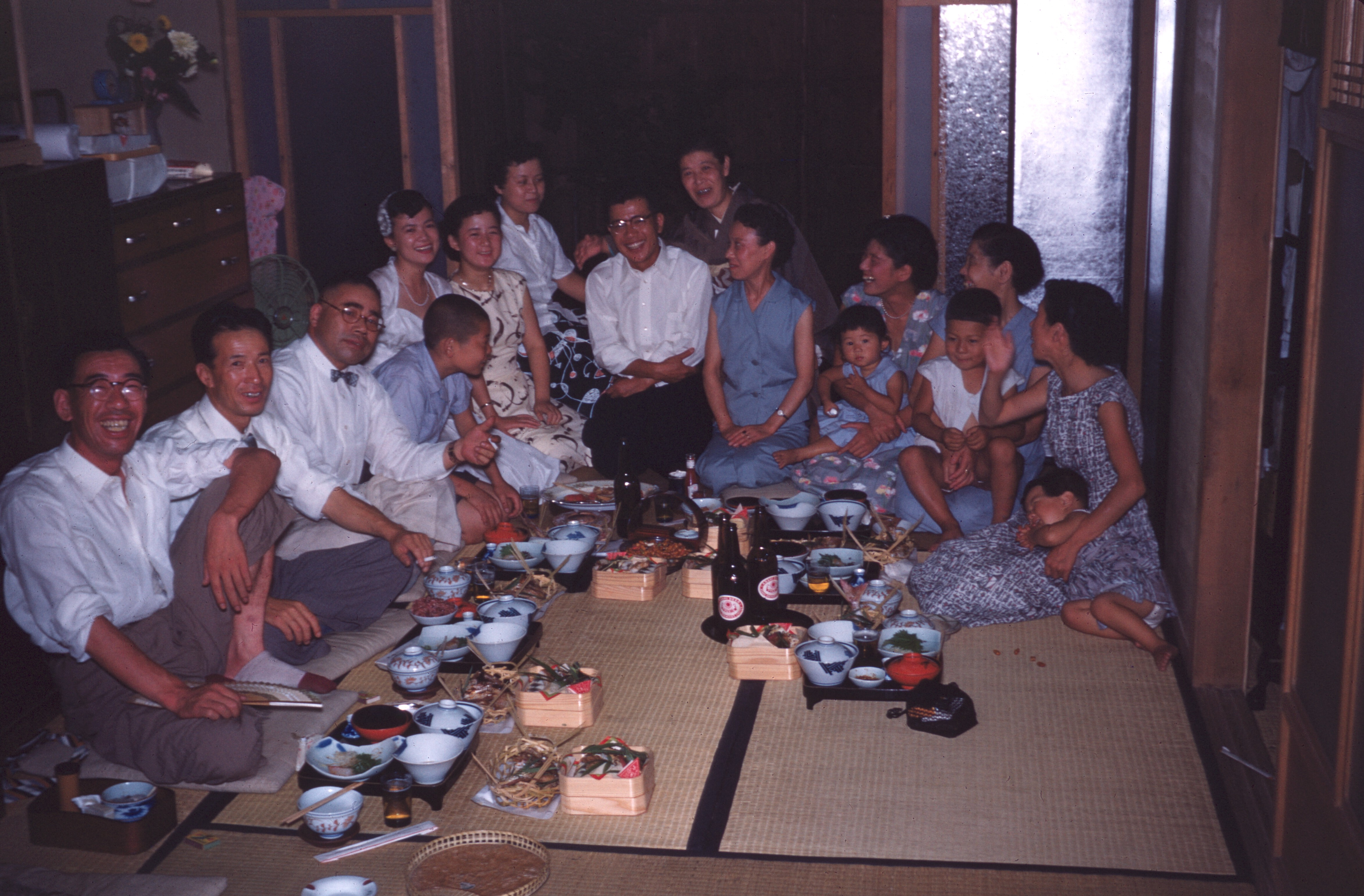 Family pre-supper feast, August 1956