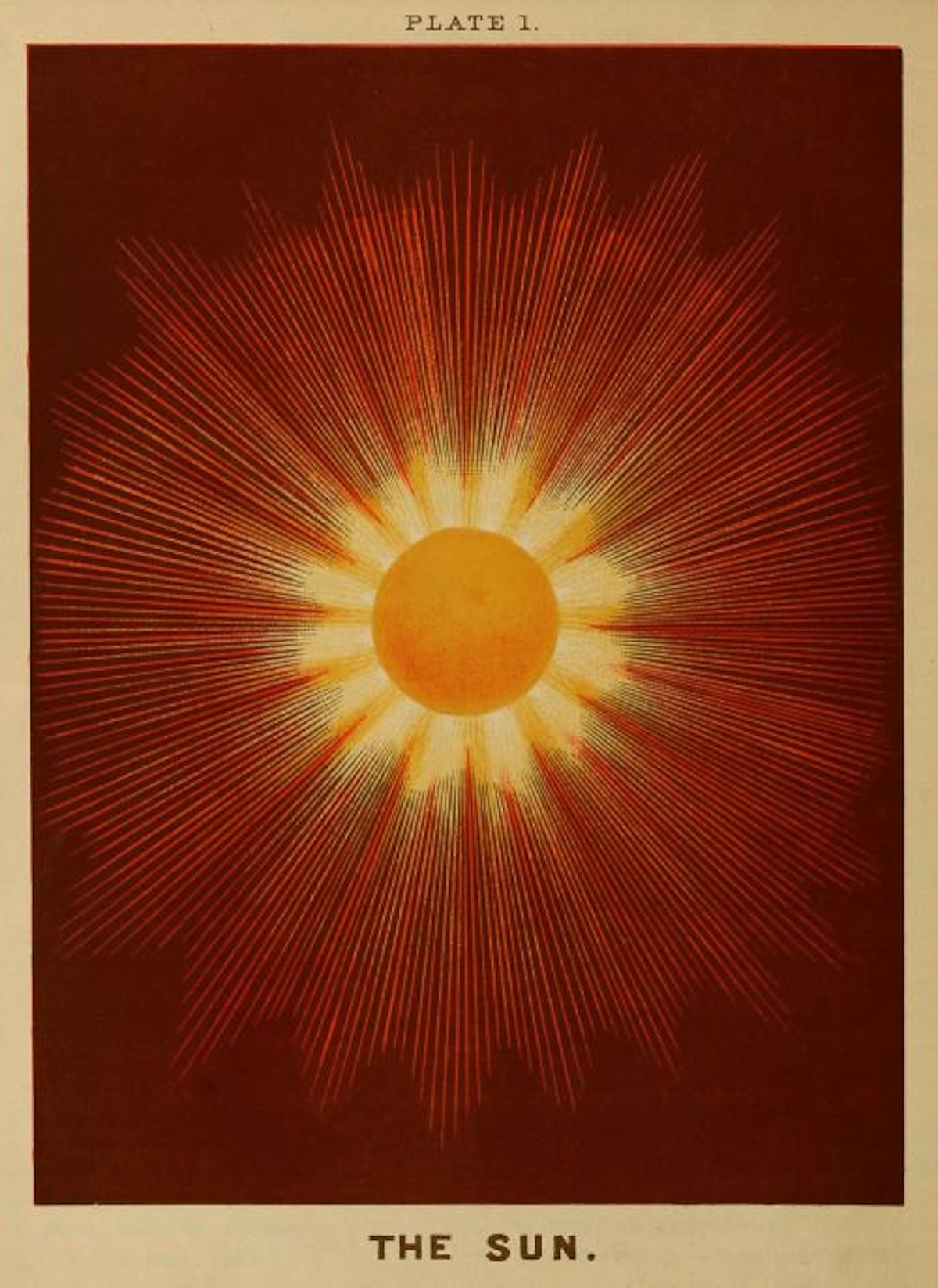 advent 4 The Sun , Plate 1 from 'Electro astronomical atlas ... with explanatory notes, questions and answers' by Joseph W Spoor, 1874