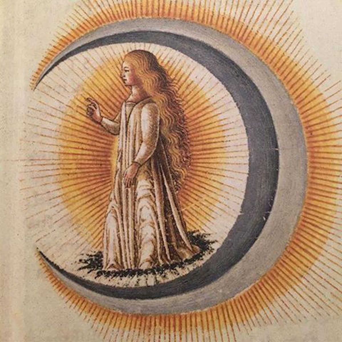 advent 5 'Luna', from the wedding book Le nozze di Costantio Sforza e Camilla d'Aragona, 1480