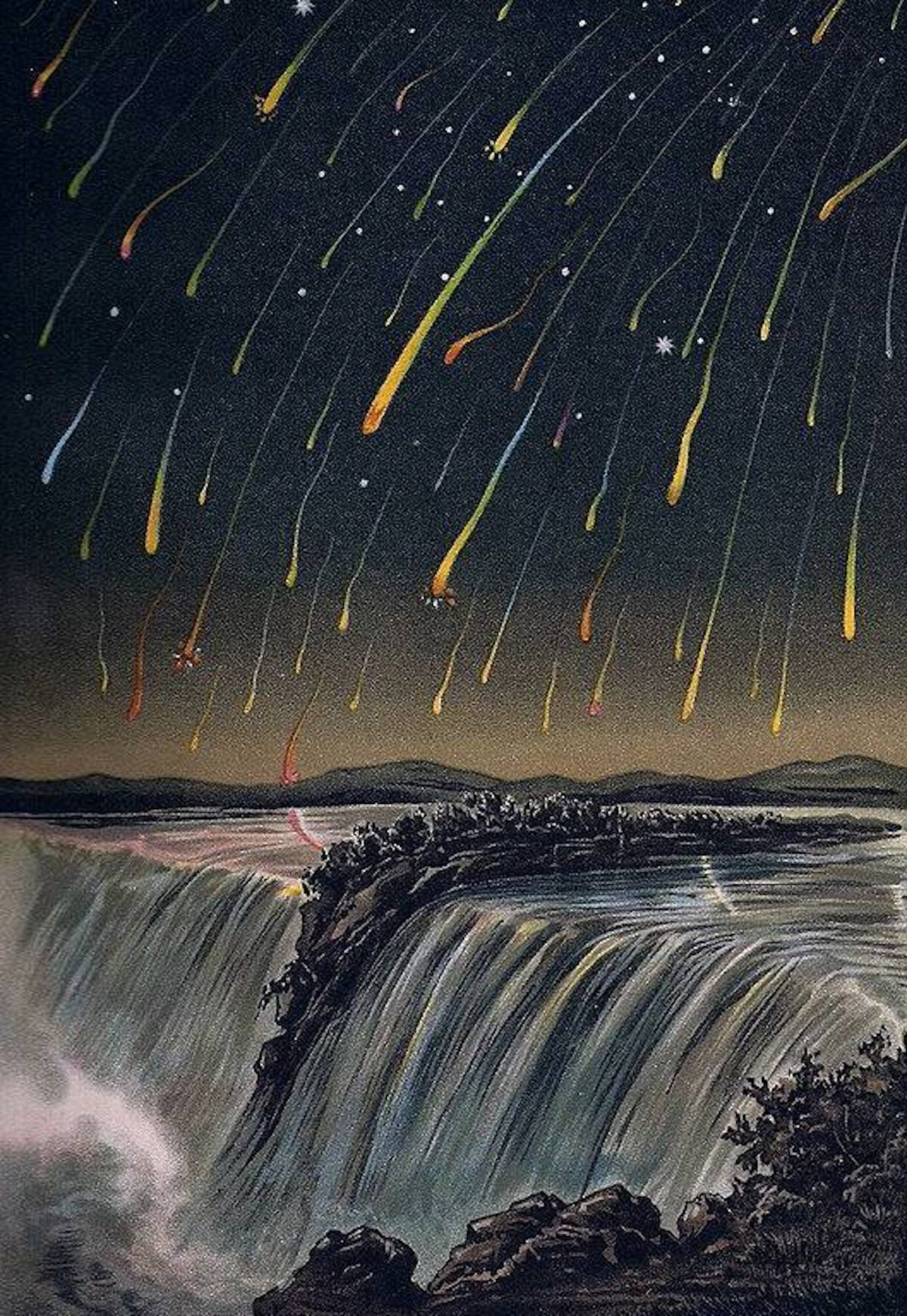 advent 6 Leonid Meteor Storm, as seen over North America on the night of November 12-13, 1833, from E. Weiß's 'Bilderatlas der Sternenwelt'