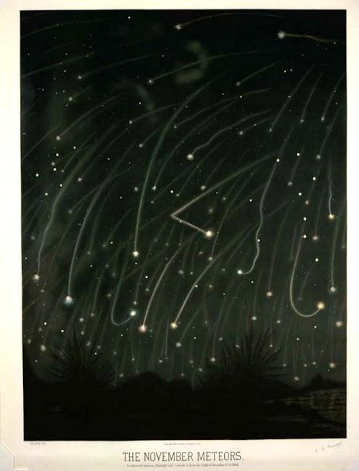 advent 8 The November Meteors by E.L. Trouvelot, 1868