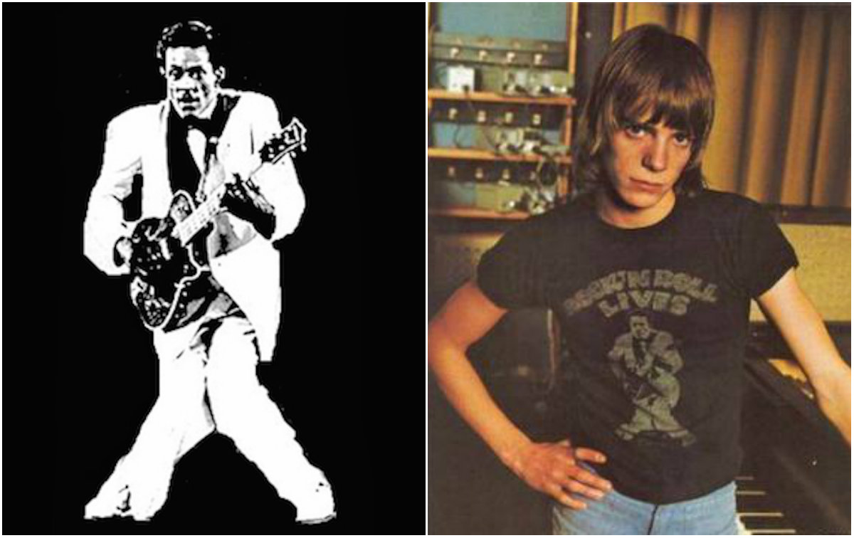 Left: Chuck Berry image isolated and bleached out. Right: As it appeared on the t-shirt, worn in this 1973 photograph of singer/songwriter Simon Fisher Turner. Photographer: Unknown