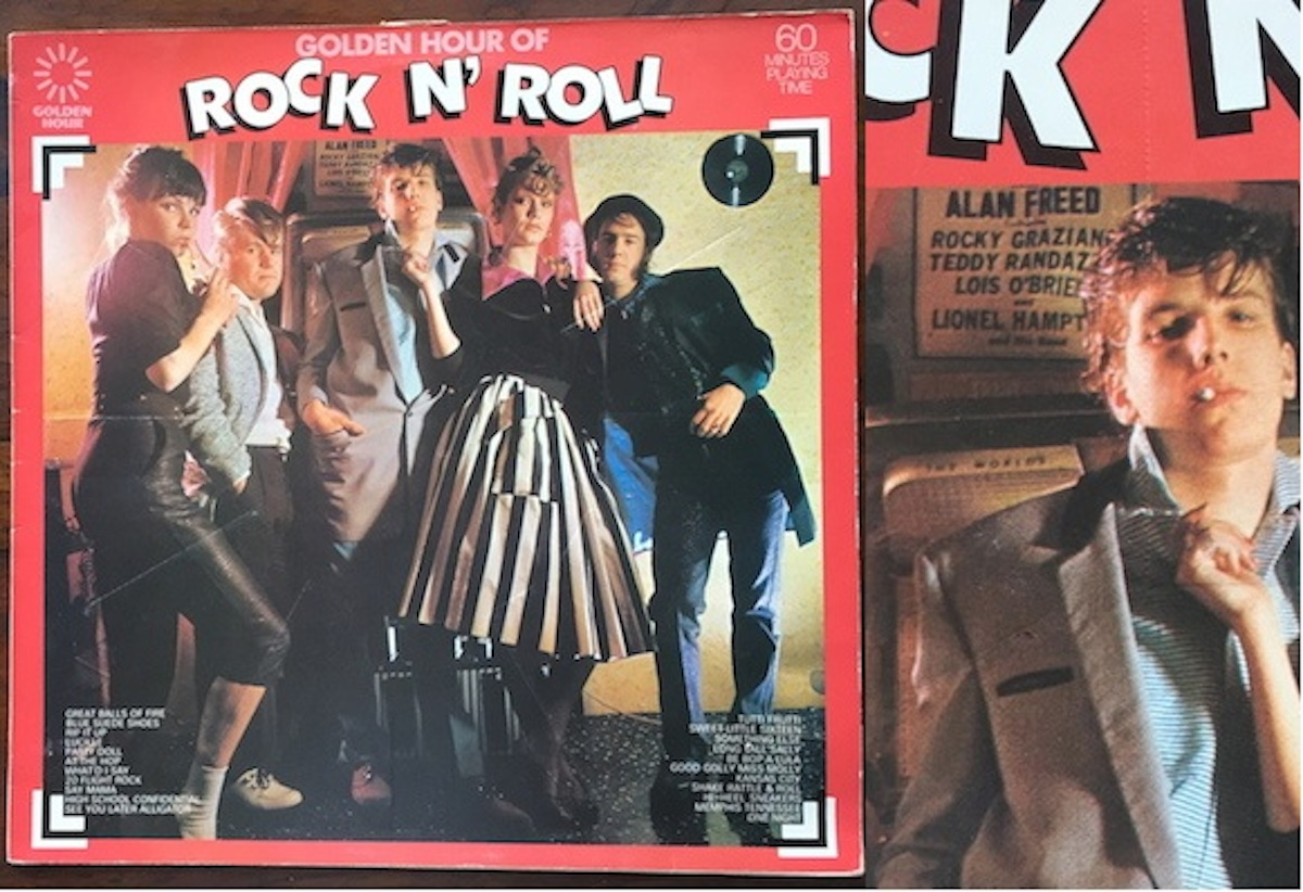 Left: Cover of Golden Hour Of Rock N' Roll, styling and clothes by Let It Rock. Right: Detail showing portion of Mister Rock And Roll poster behind model's head