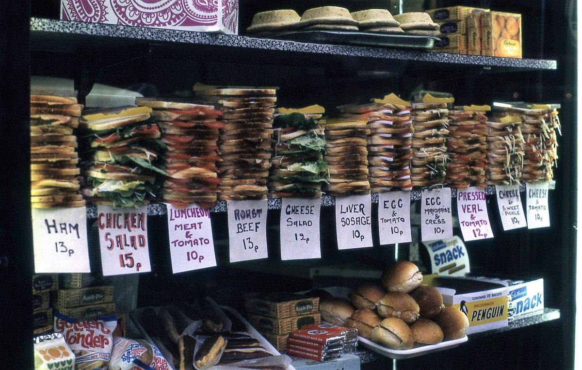 Sandwiches for sale, London 1972