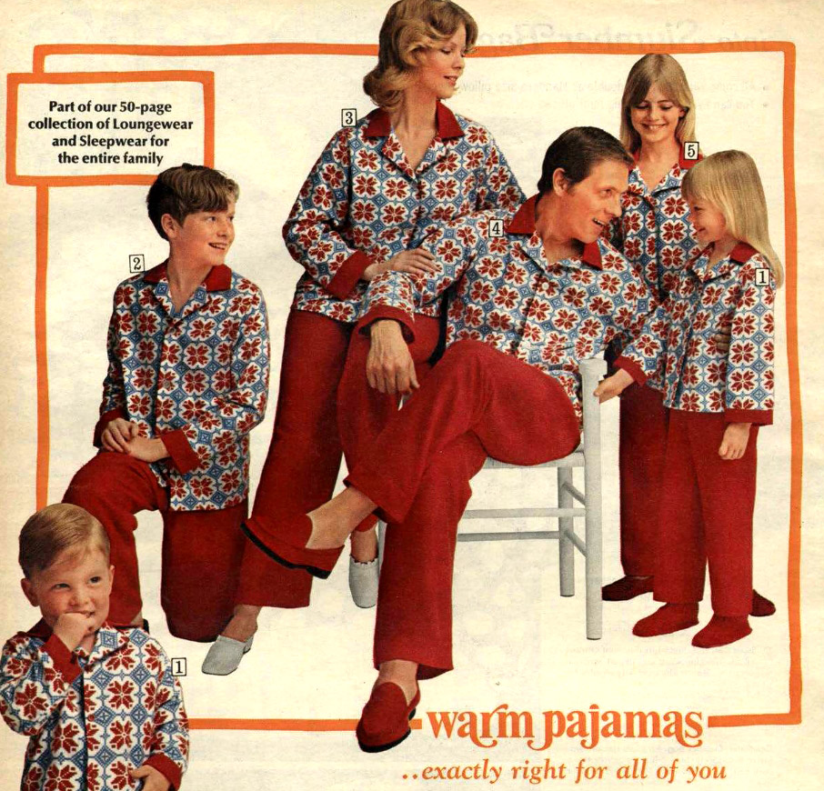 Vintage Christmas Cringe Families In Matching Holiday Pajamas