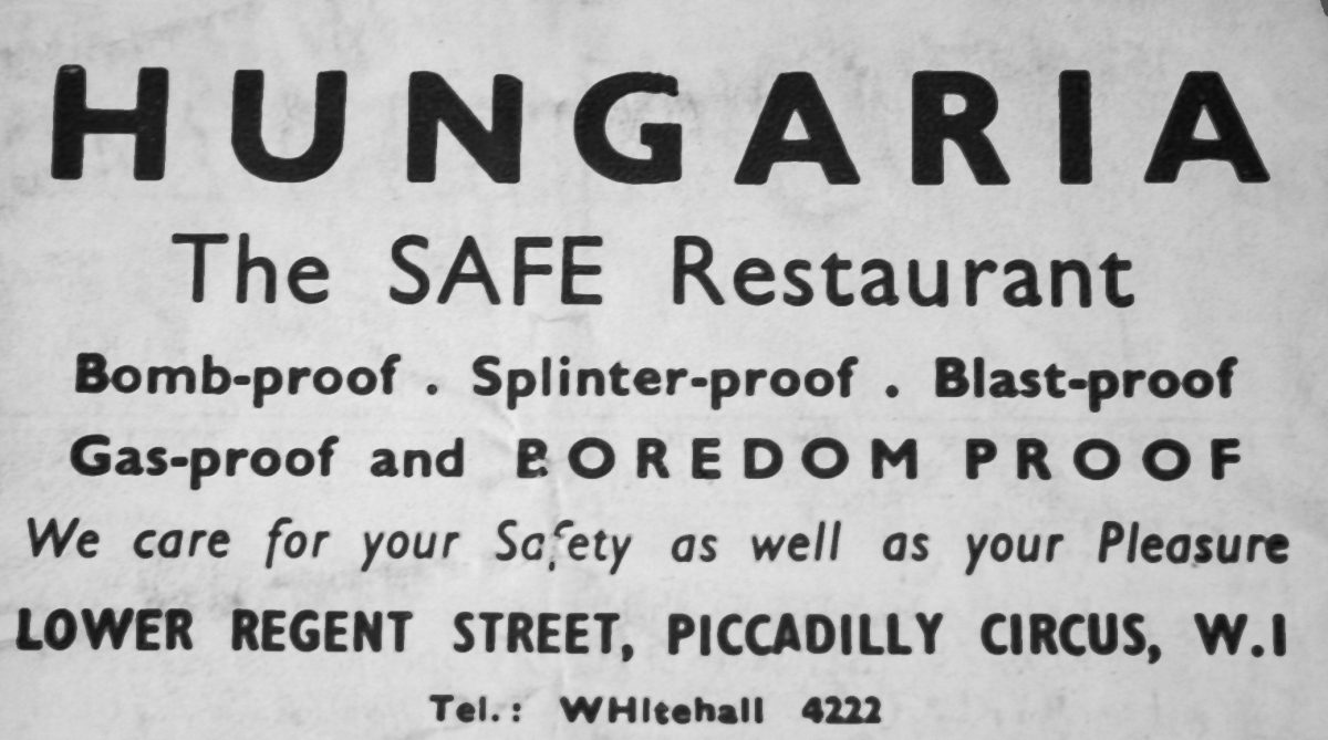 London Hungaria restaurant WW2 Lower Regent Street