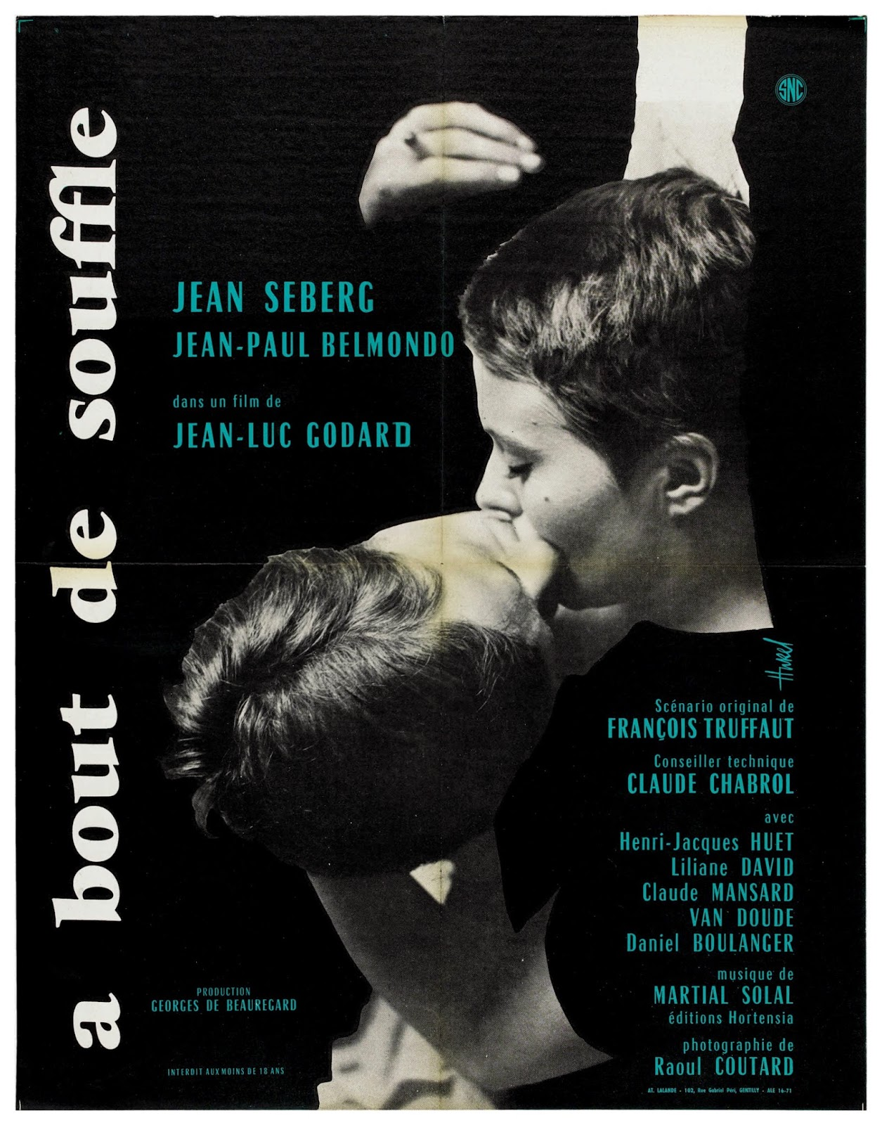 poster for A Bout de Souffle directed by Jean-Luc Godard