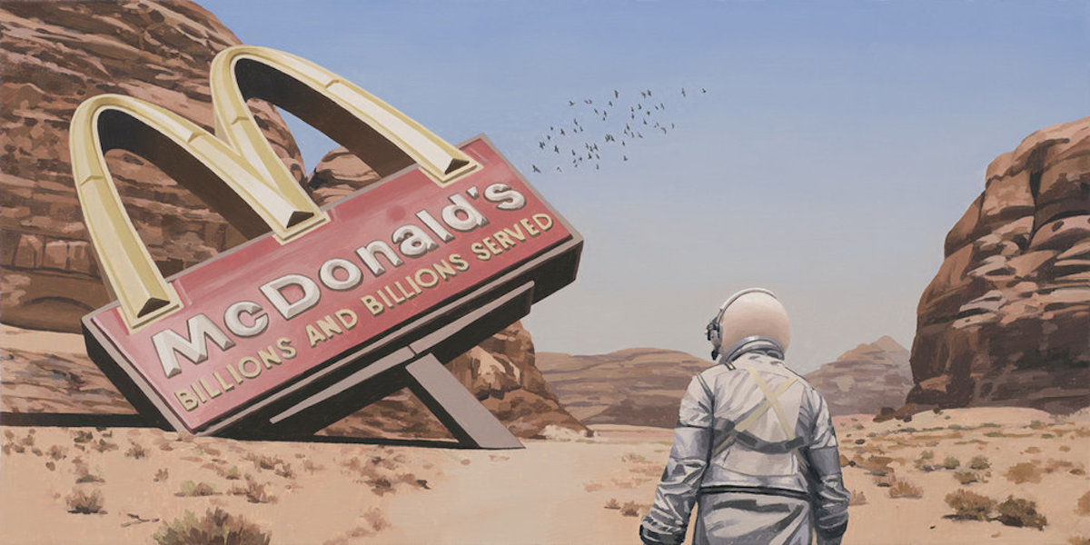 mcdonald's SCOTT LISTFIELD ASTRONAUTDINOSAUR paintings