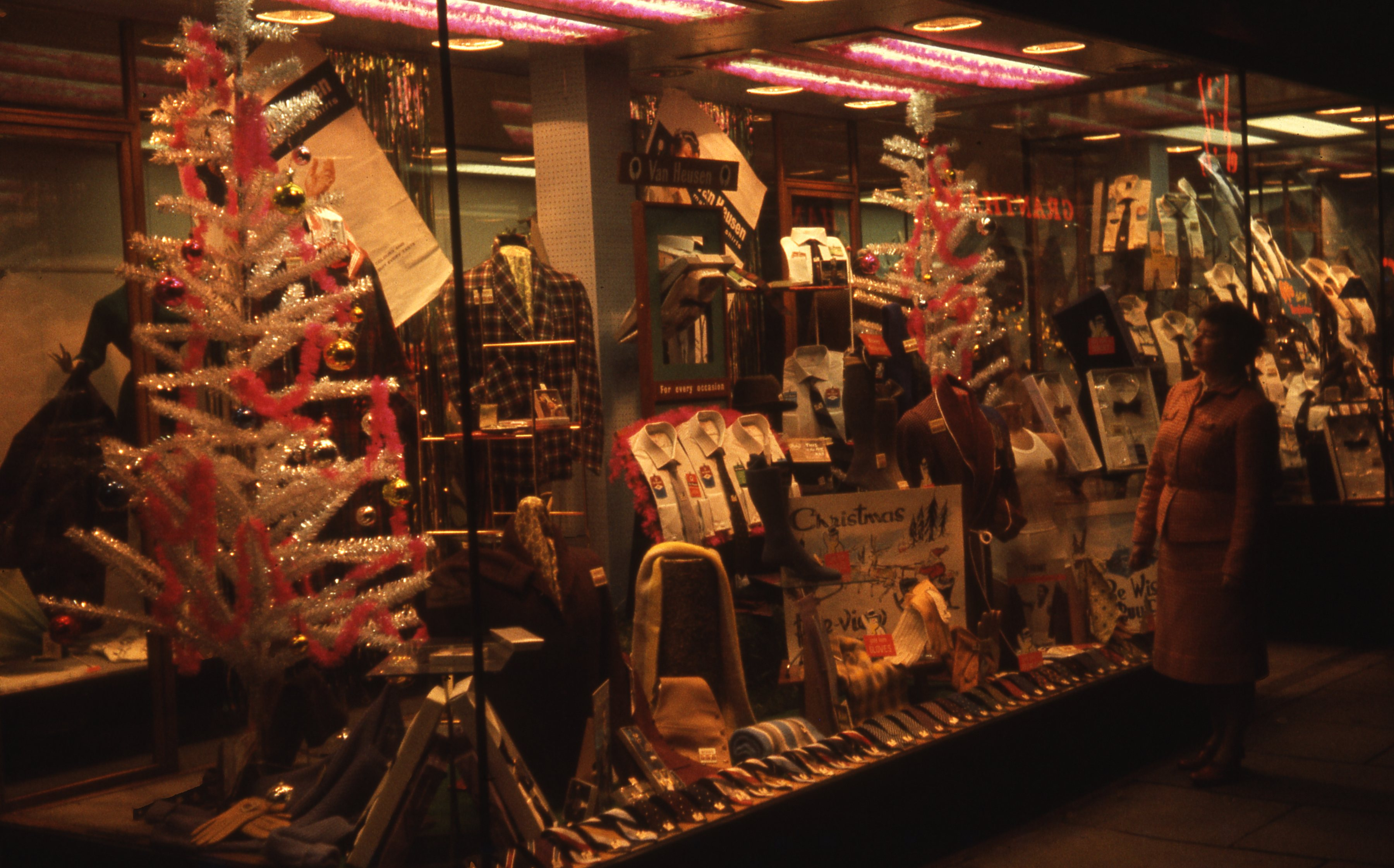 This is the decorated Christmas window of the Woods store in South Shields. This is a 35mm slide. It was taken in 1962.