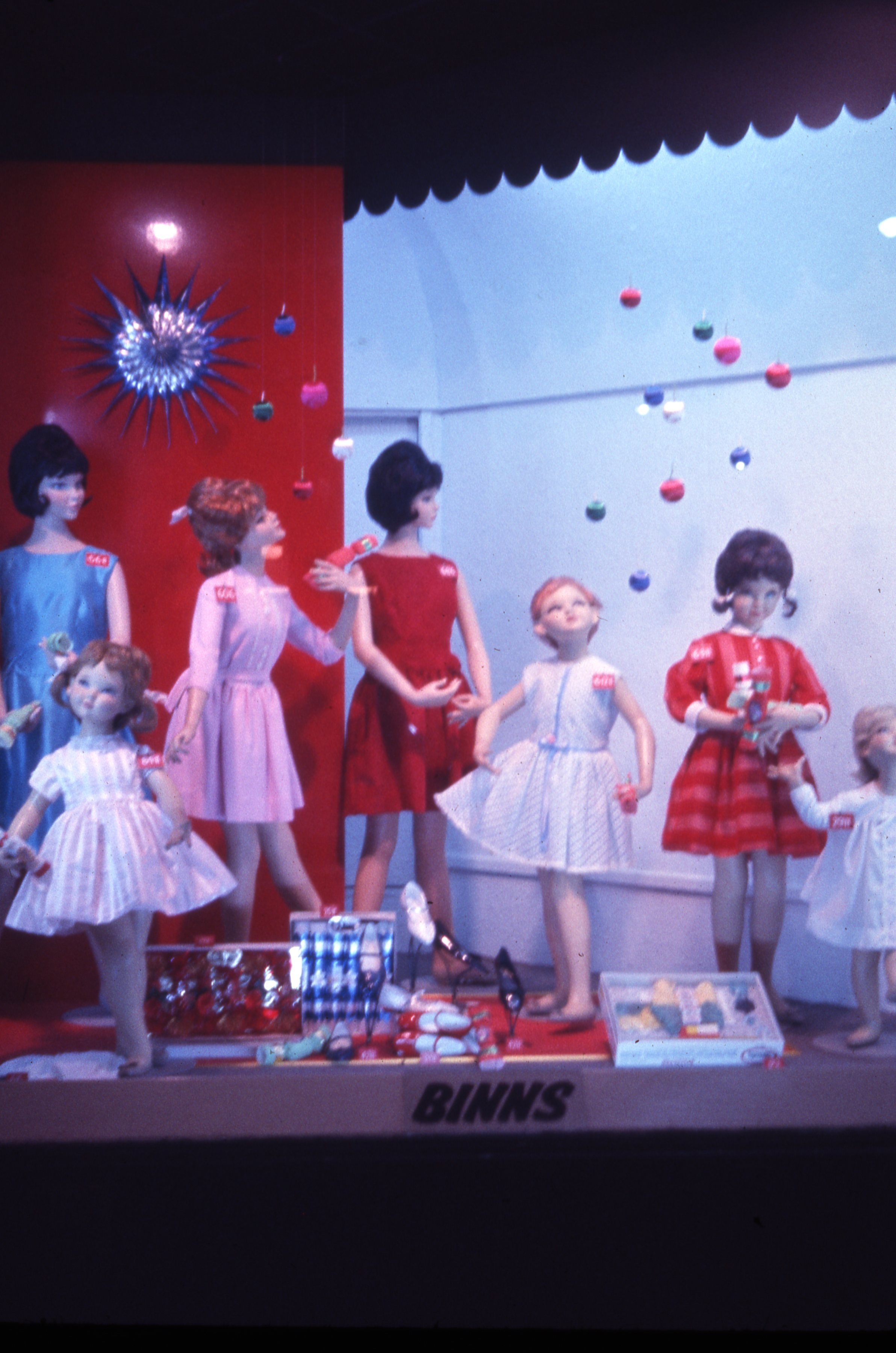 This is a children's Christmas display at Binns department store, Newcastle upon Tyne. This is a 35mm slide. It was taken in 1963.