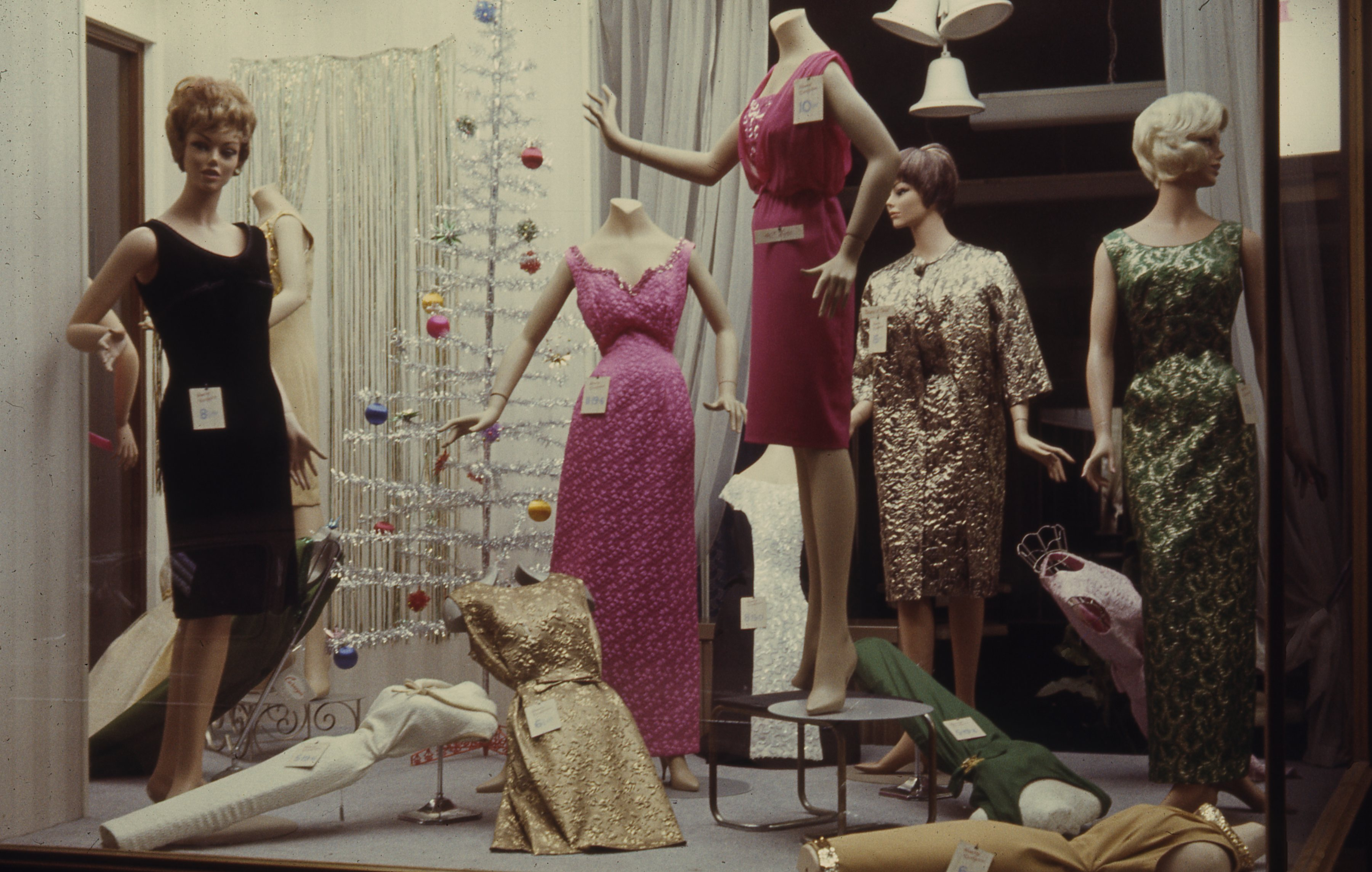 It shows the gift display in a ladies fashion shop on Saville Row, Newcastle upon Tyne. This is a 35mm slide. It was taken in 1966.