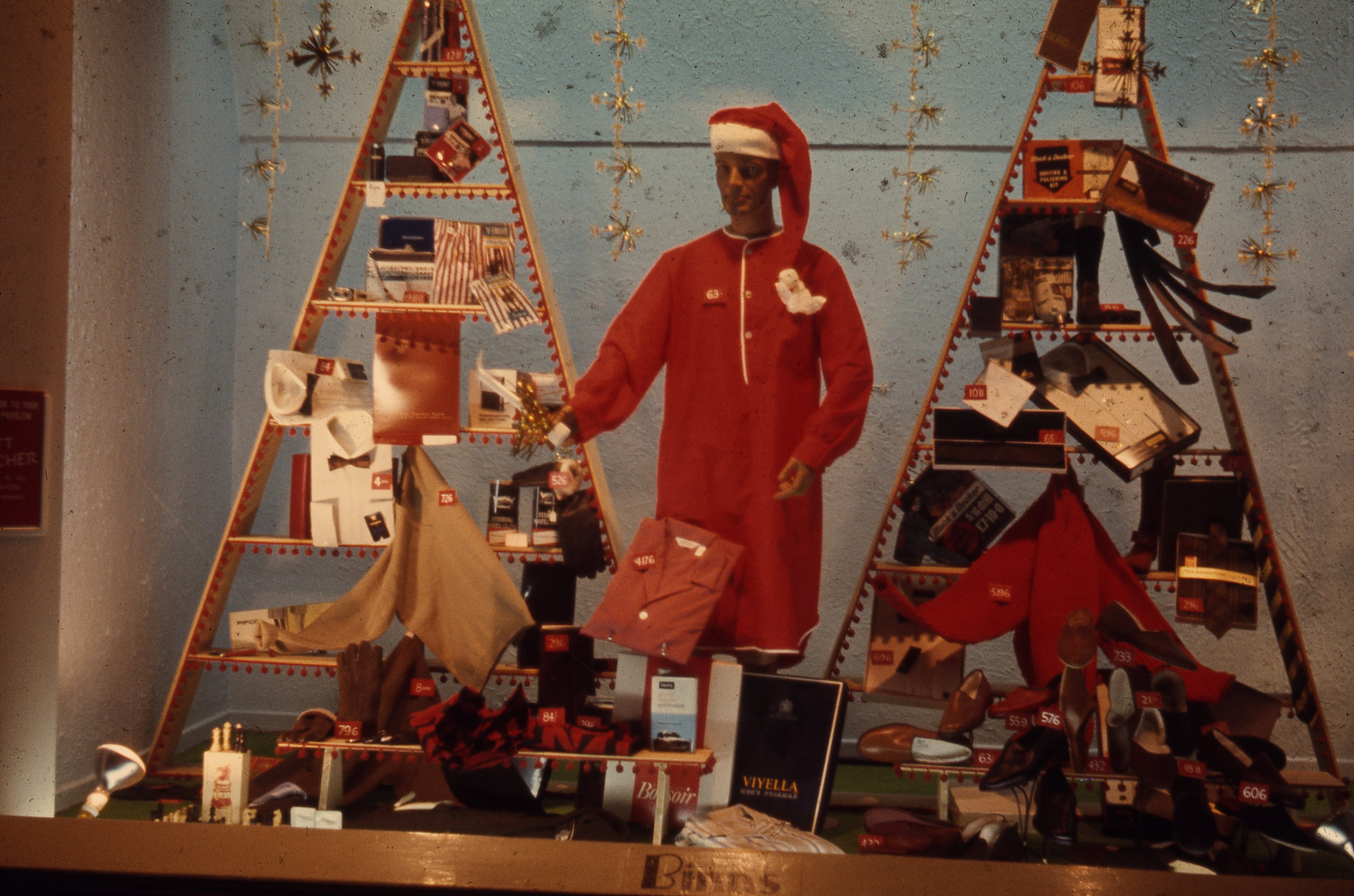 This is a men's gift display in Binns department store, Newcastle upon Tyne. This is a 35mm slide. It was taken in 1966.