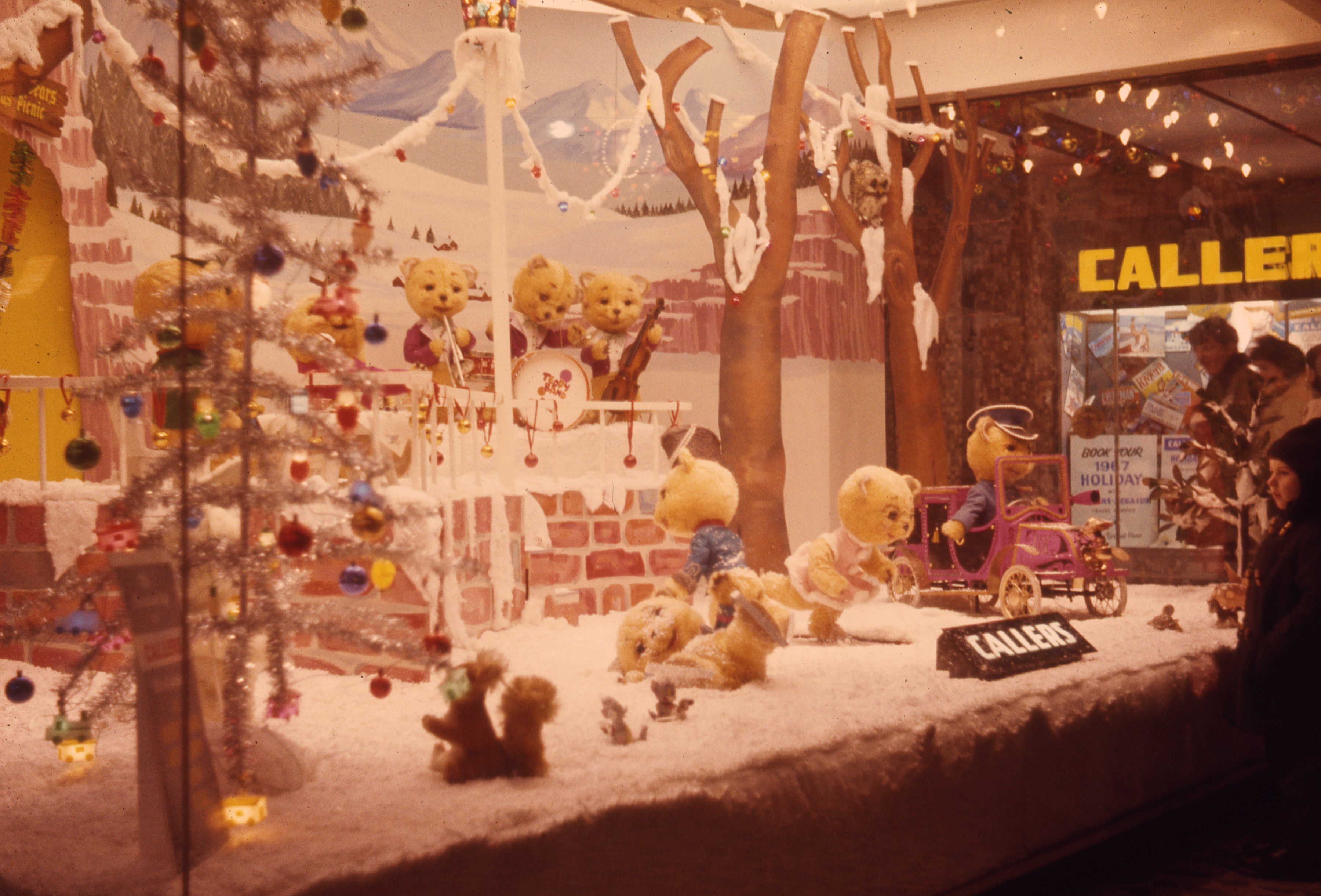 The photograph shows a bear Band in a winter wonderland display at Callers department store in Newcastle upon Tyne. This is a 35mm slide. It was taken in 1966.