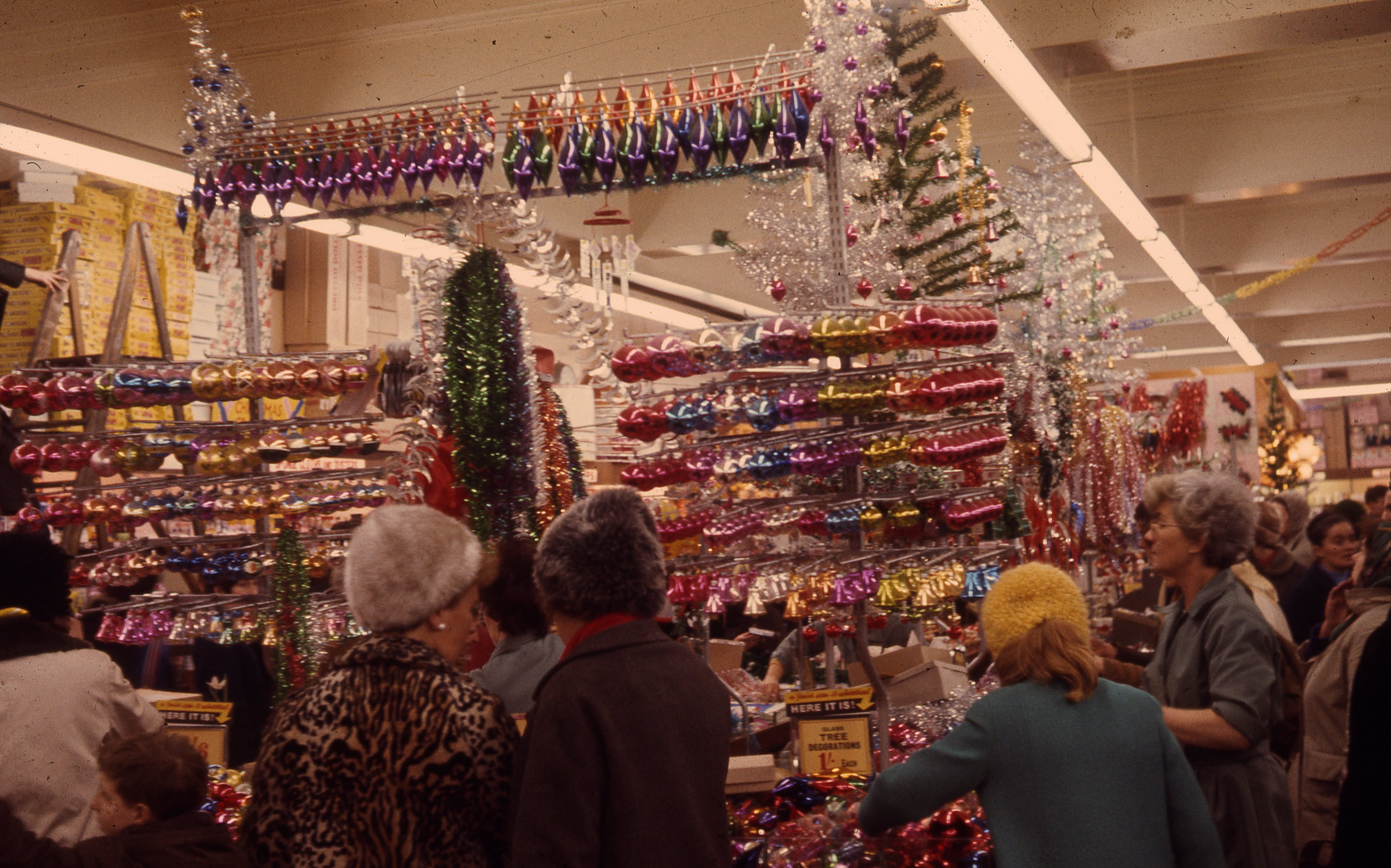 . It shows shoppers in the decoration department of Woolworths in Newcastle upon Tyne. This is a 35mm slide. it was taken in 1966.