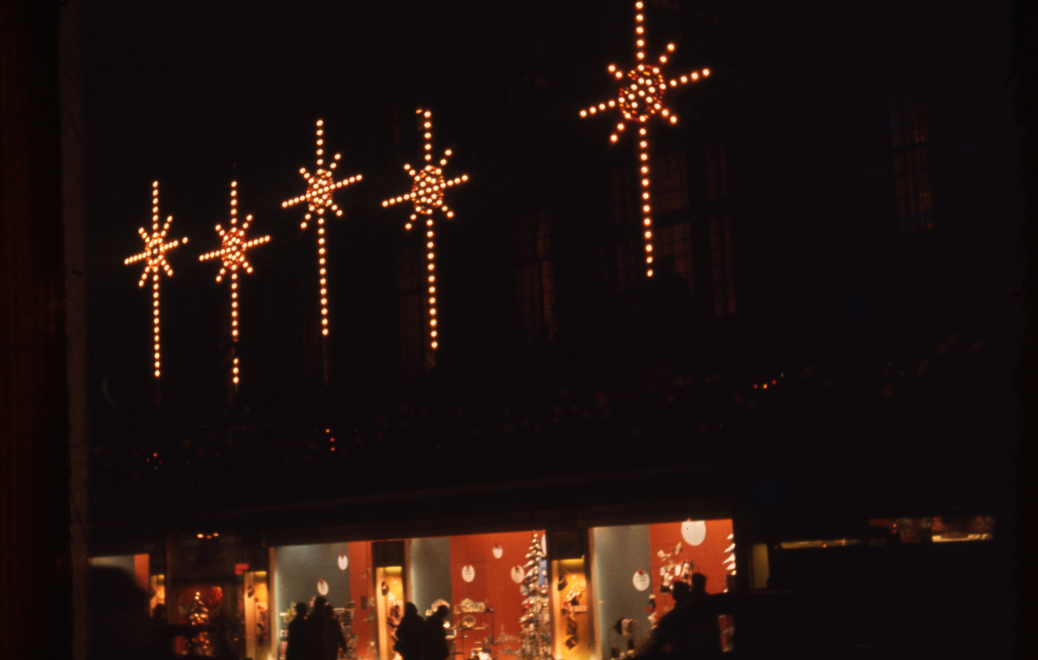 This is a festive window display in Fenwick's of Newcastle upon Tyne. This is a 35mm slide. It was taken in 1962.