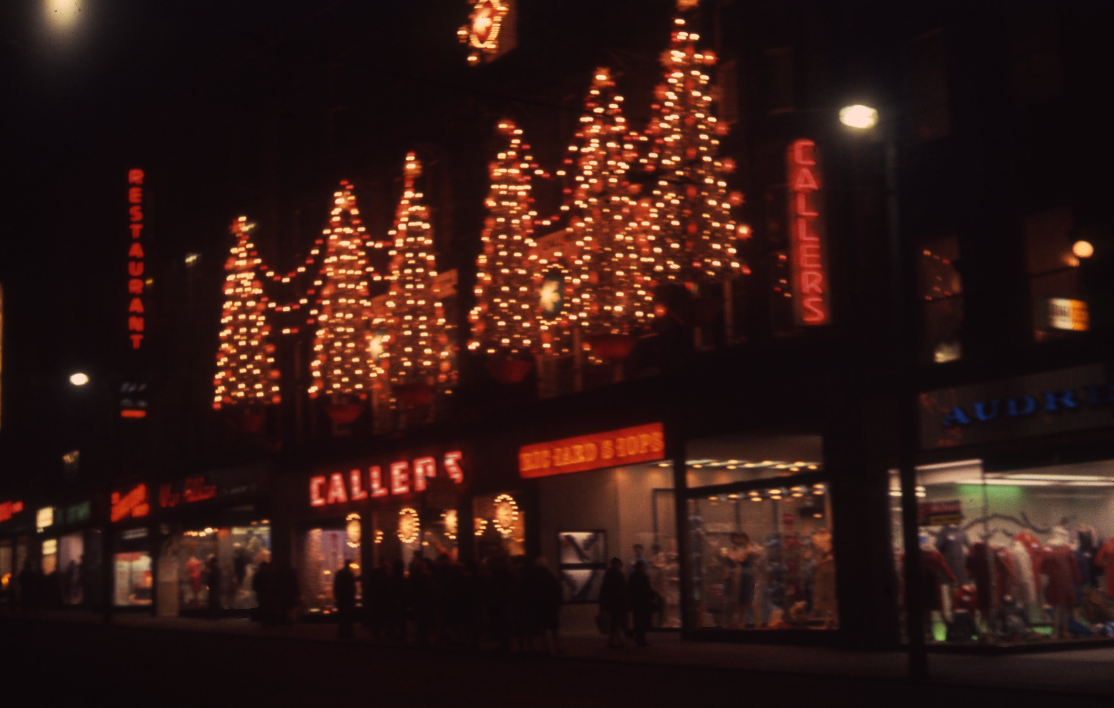 The Callers department store name is spelt out in festive lights. This is a 35mm slide. It was taken in 1964.