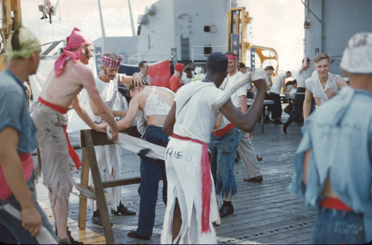 USS Princeton 1957 crossing the equator Shellbacks and Pollywogs