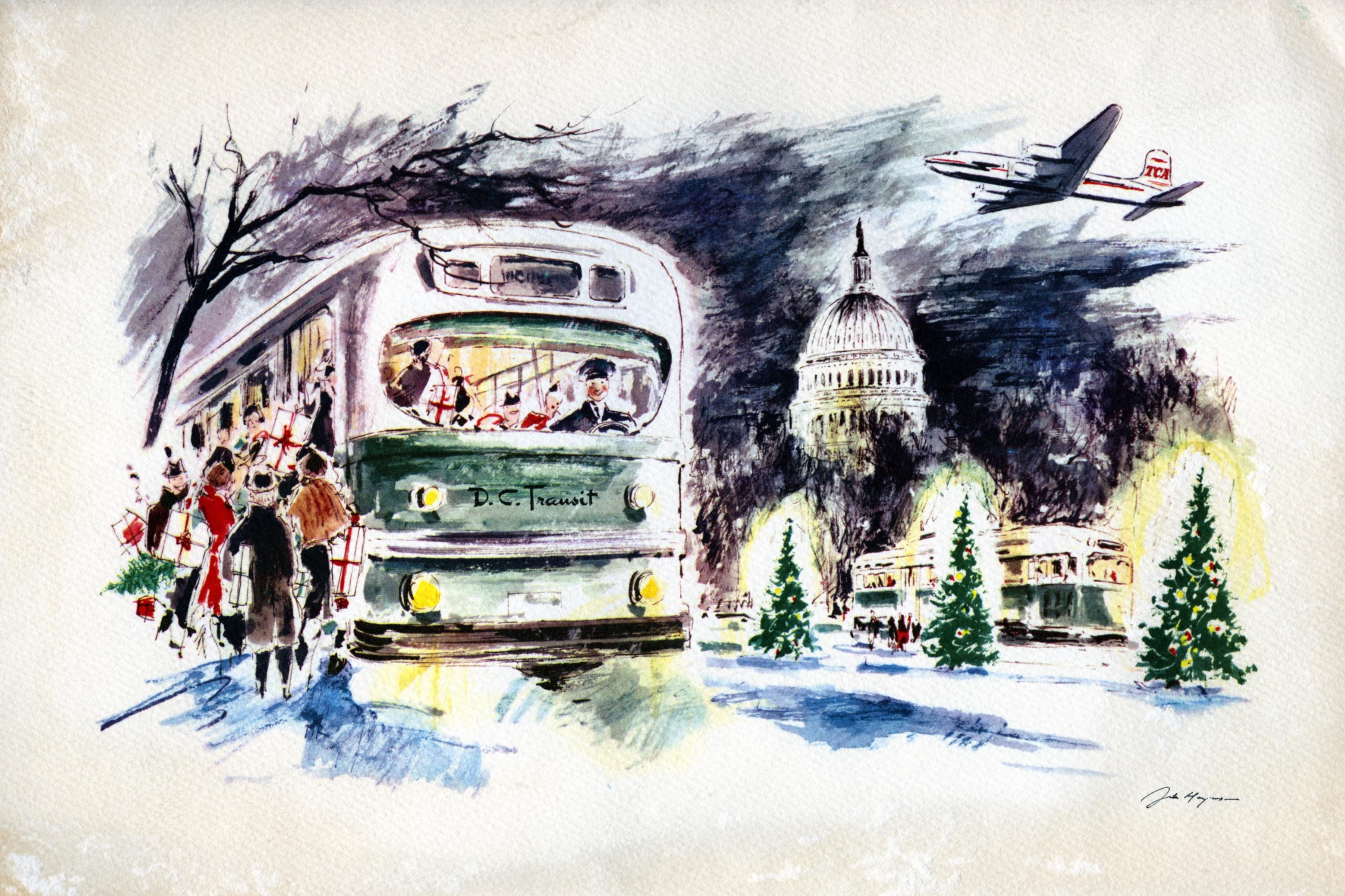 DC Transit US Capitol Christmas Card Washington DC Christmas card from O. Roy Chalk, DC Transit Company owner U.S. Capitol