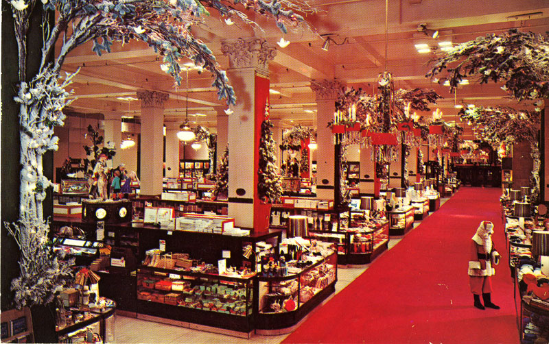 Woodward & Lothrop Department Store Christmas Washington DC Main aisle featuring Santa Claus on the red carpet, Woodward & Lothrop, Washington, D.C., about 1965