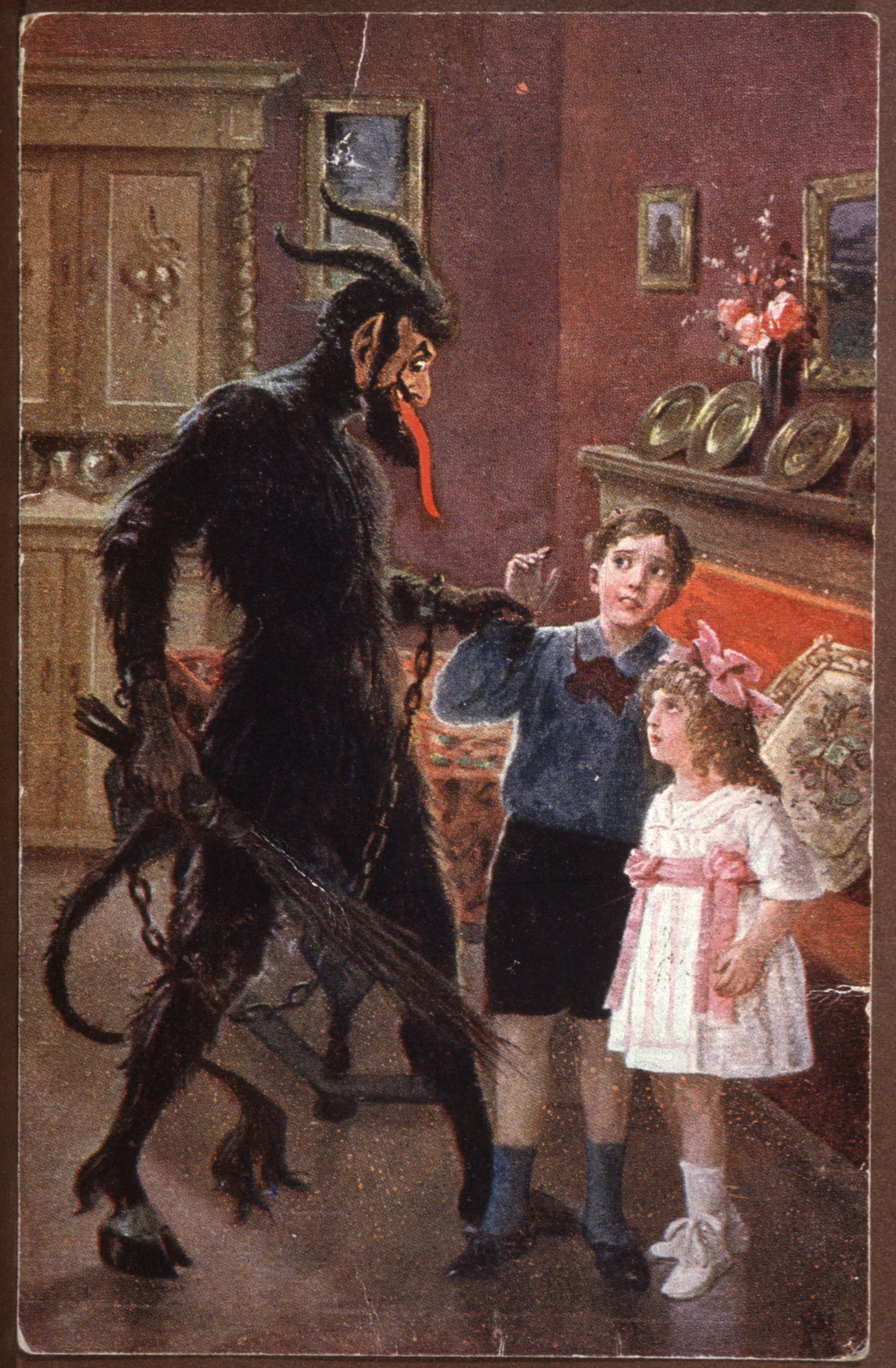 Krampus (Devil, Père Fouettard, Knecht Ruprecht, traditionally evil companion of Santa Claus) taking naughty children, postcard for feast of St Nicholas, Hungary, early 20th century