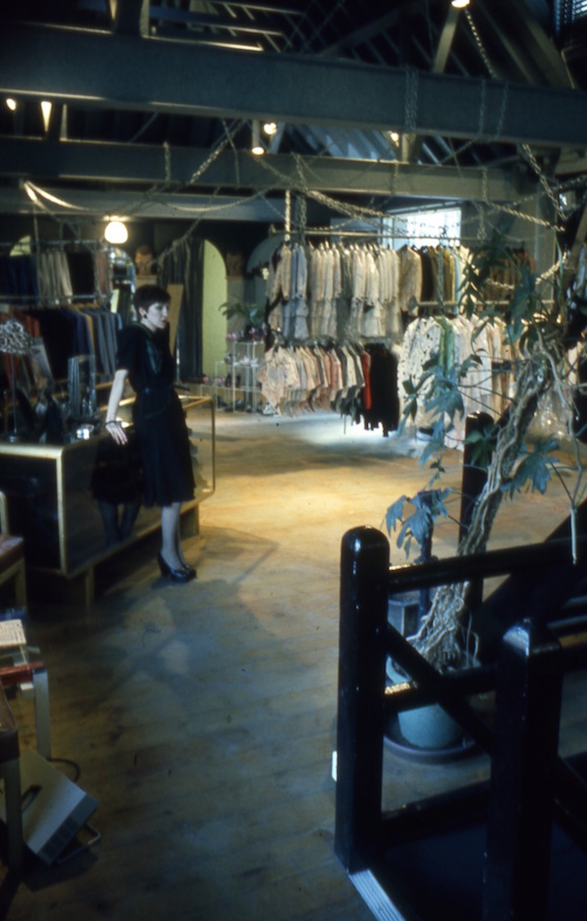 Assistant with display counter in London boutique City Lights Studio 1972; here Angie and David Bowie selected the suit which he wears on the back cover of the following year's covers album Pin Ups. Photo: Jeff Pine