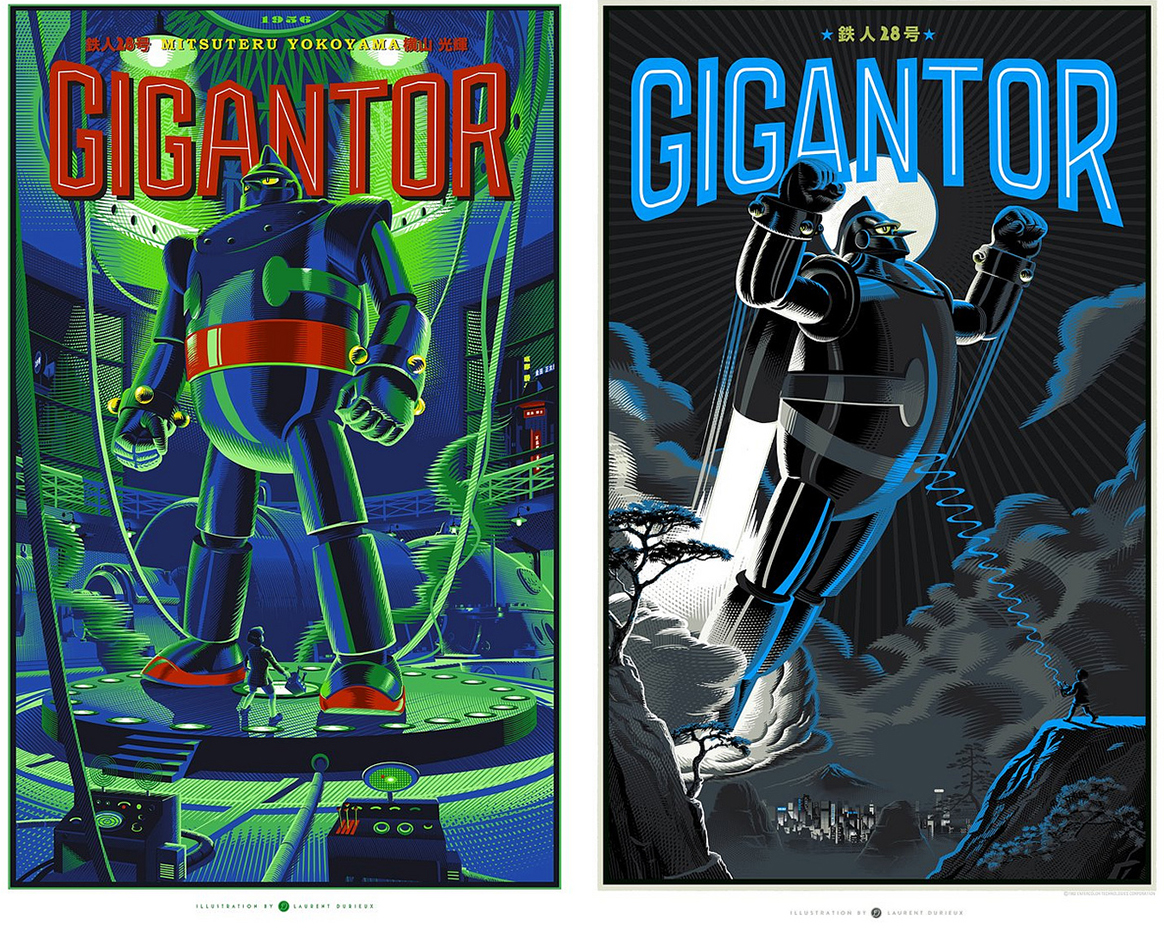"Above: In 2012, Laurent Durieux created two versions of ""Gigantor"" for Dark Hall Mansion. Top: ""Jaws,"" published by Mondo, 2013."