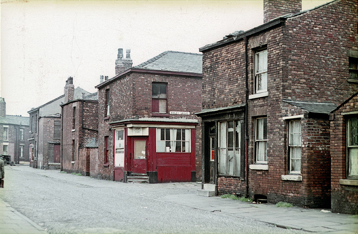 Crowborough Street near the junction with Ridley Grove, in the Hulme/Greenheys district of Manchester, photographed around 1967.