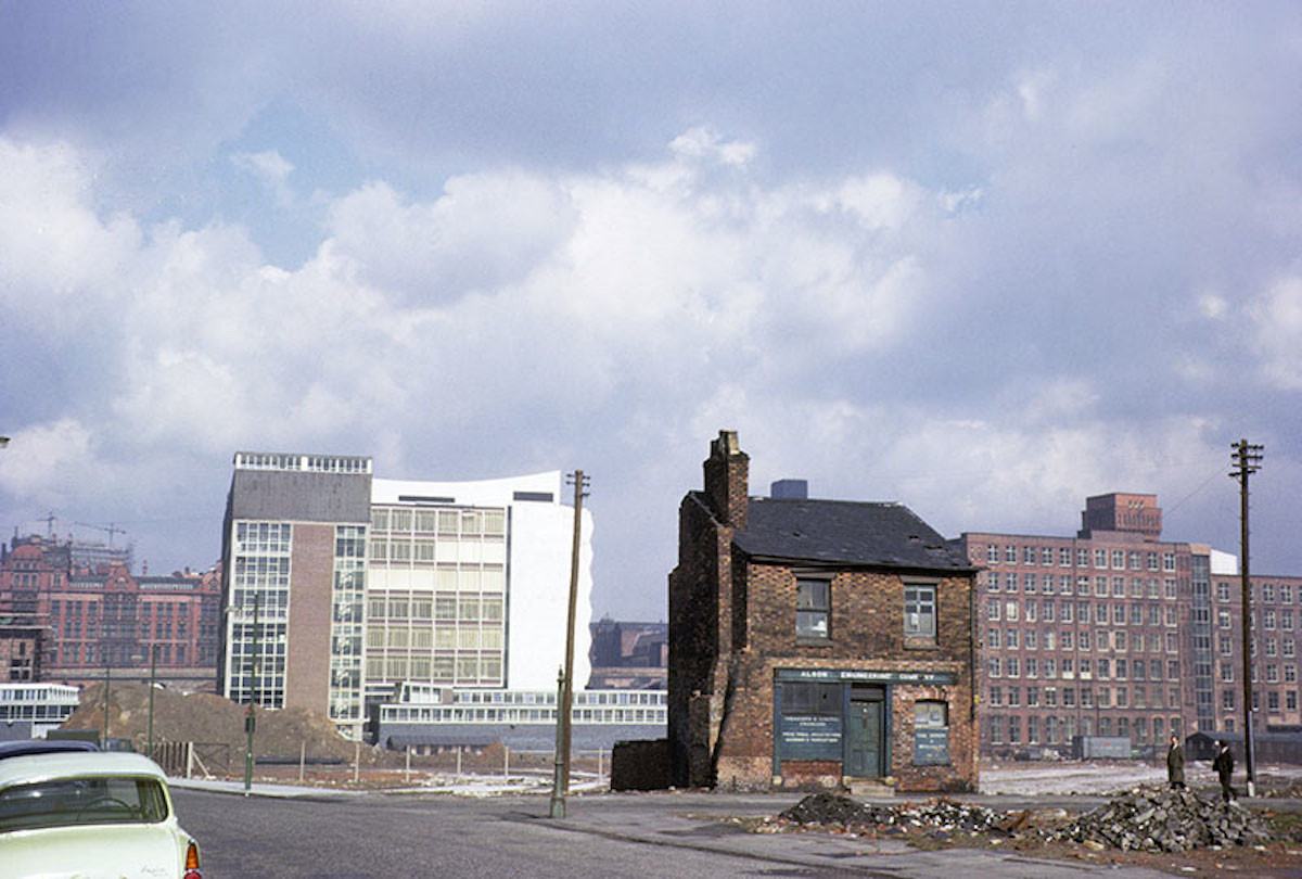View looking north over the site of the University of Manchester Institute of Science and Technology (UMIST) in the mid 1960s. Taken in the vicinity of Grosvenor Street, Chorlton on Medlock, before the construction of the Mancunian Way and the Brunswick housing estate.