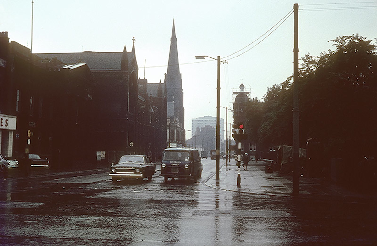 View along Cavendish Street from Oxford Road towards Hulme, mid 1960s.