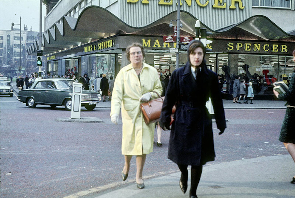 Shoppers outside the Marks & Spencer store at the junction of Cross Street, Corporation Street and St Mary's Gate in 1964.